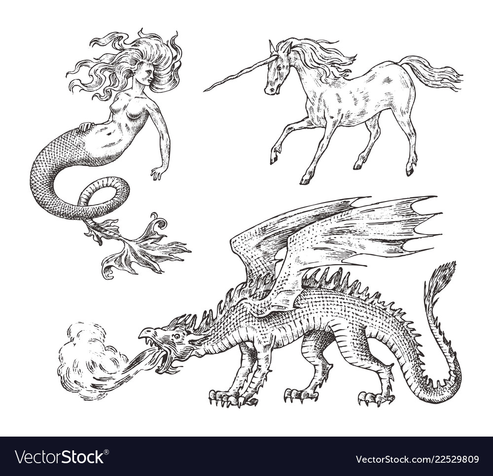 Set of mythological animals mermaid unicorn