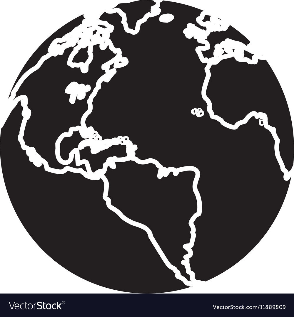 Silhouette globe map world earth business icon vector image