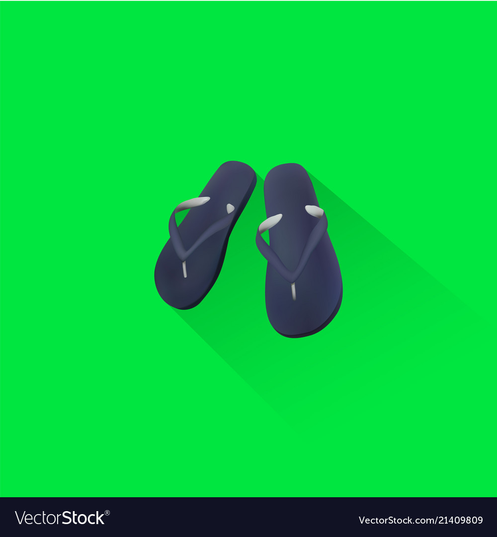 Simple beach sandal icon on green background