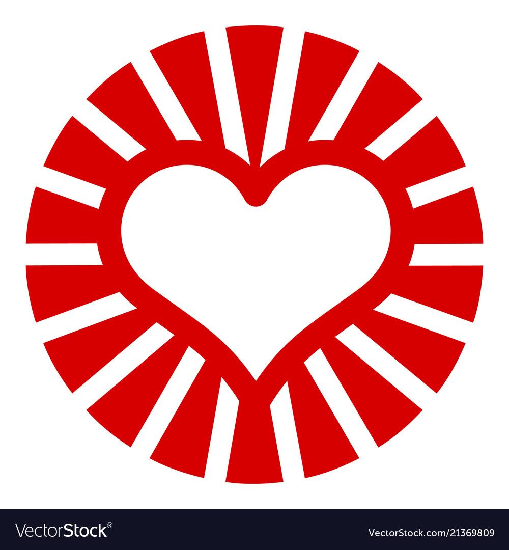 Sun heart icon simple style