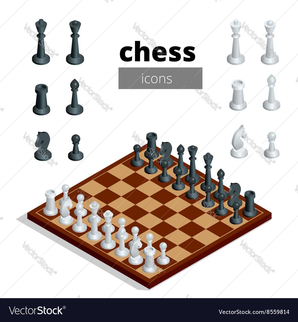 Chess icons Flat 3d isometric vector image