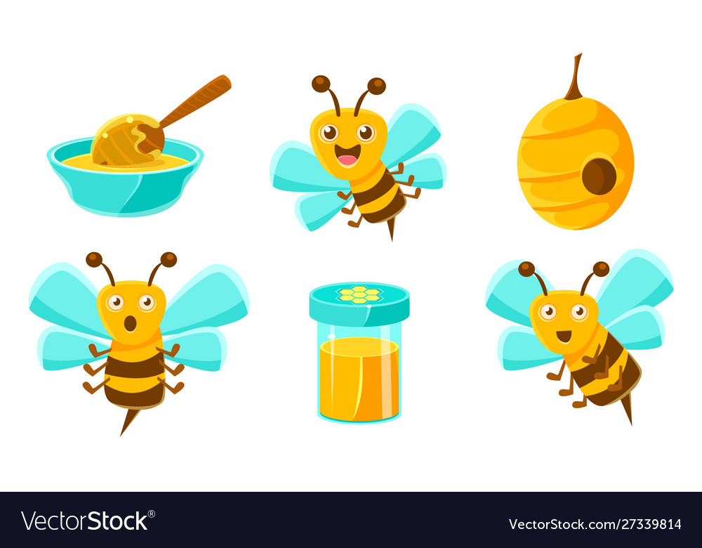 Cute funny bees beehive honey in jar organic