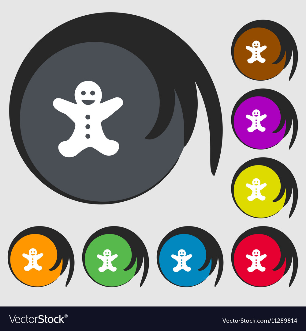 Gingerbread man icon sign Symbols on eight colored vector image