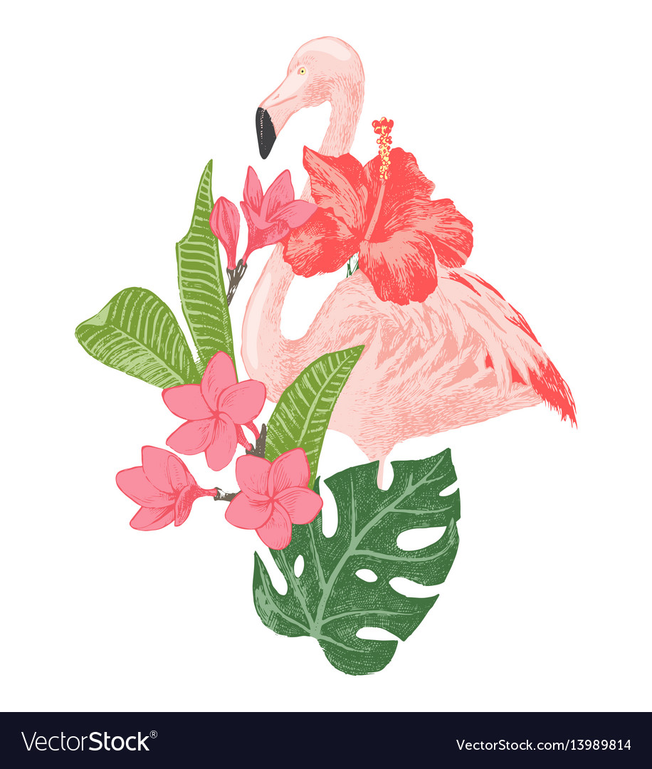 Hand drawn flamingo with tropical flowers