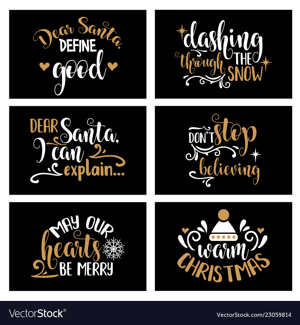 Hand Lettering Christmas Card Collection Vector Image