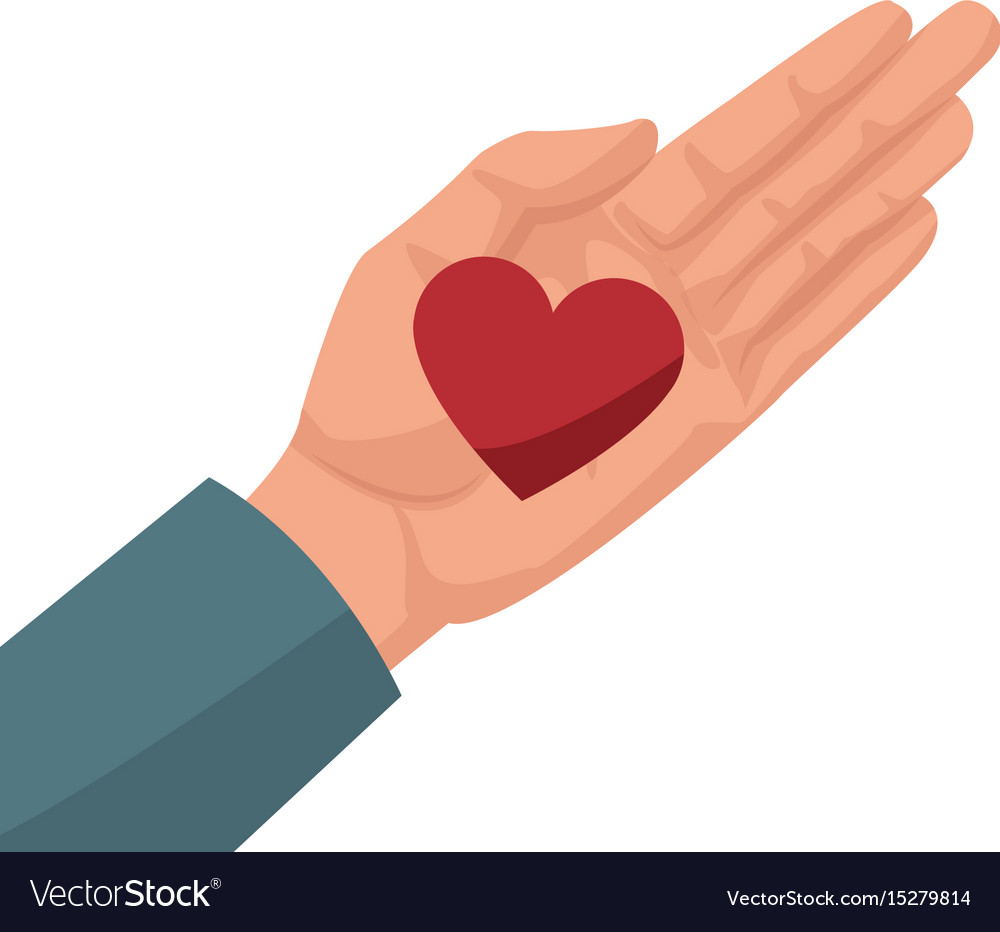 Hand with heart love romantic symbol vector image