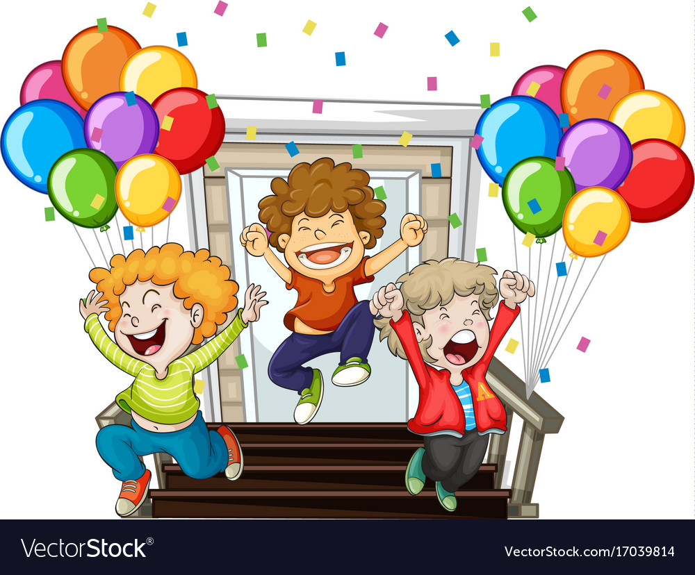 Happy boys and colorful balloons at home