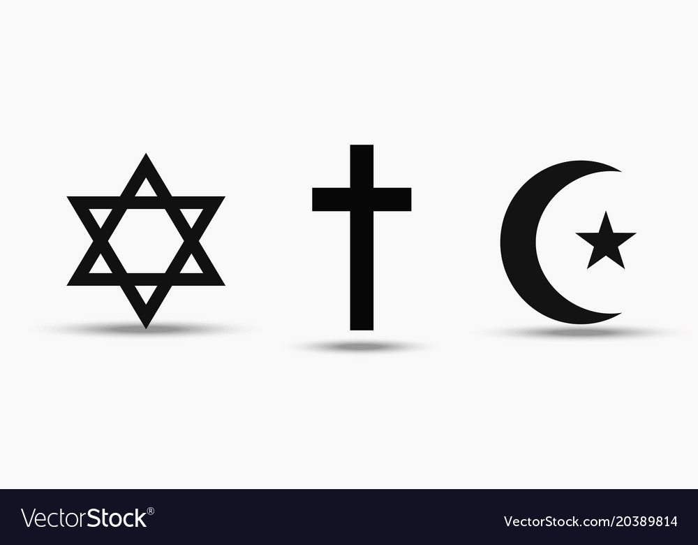 Symbols Of The Three World Religions Judaism Vector Image