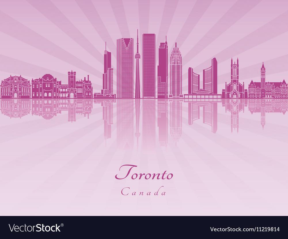 Toronto V2 skyline in purple radiant orchid vector image