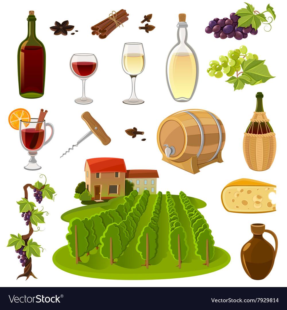 Wine Cartoon Icons Set