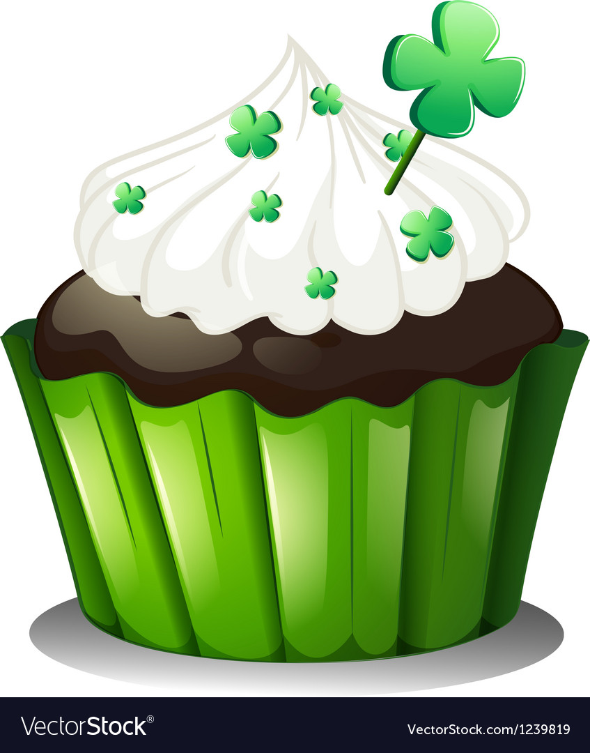 Superb A Chocolate Cupcake For St Patricks Day Royalty Free Vector Funny Birthday Cards Online Necthendildamsfinfo