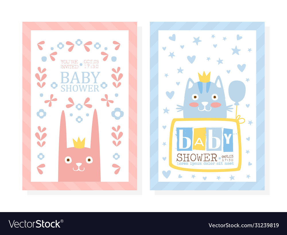 Bashower invitation card template with lovely