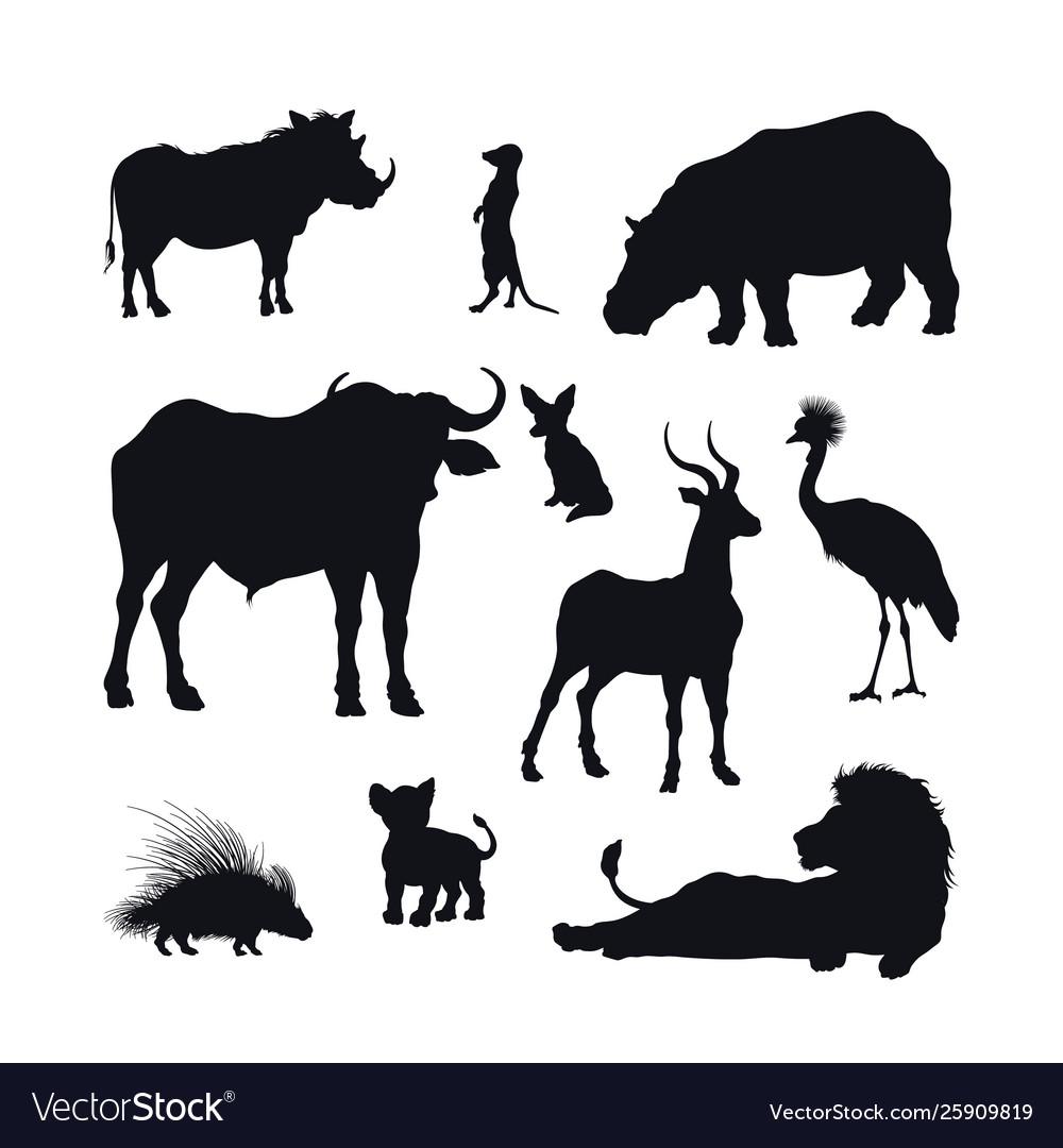 Black silhouette african animals