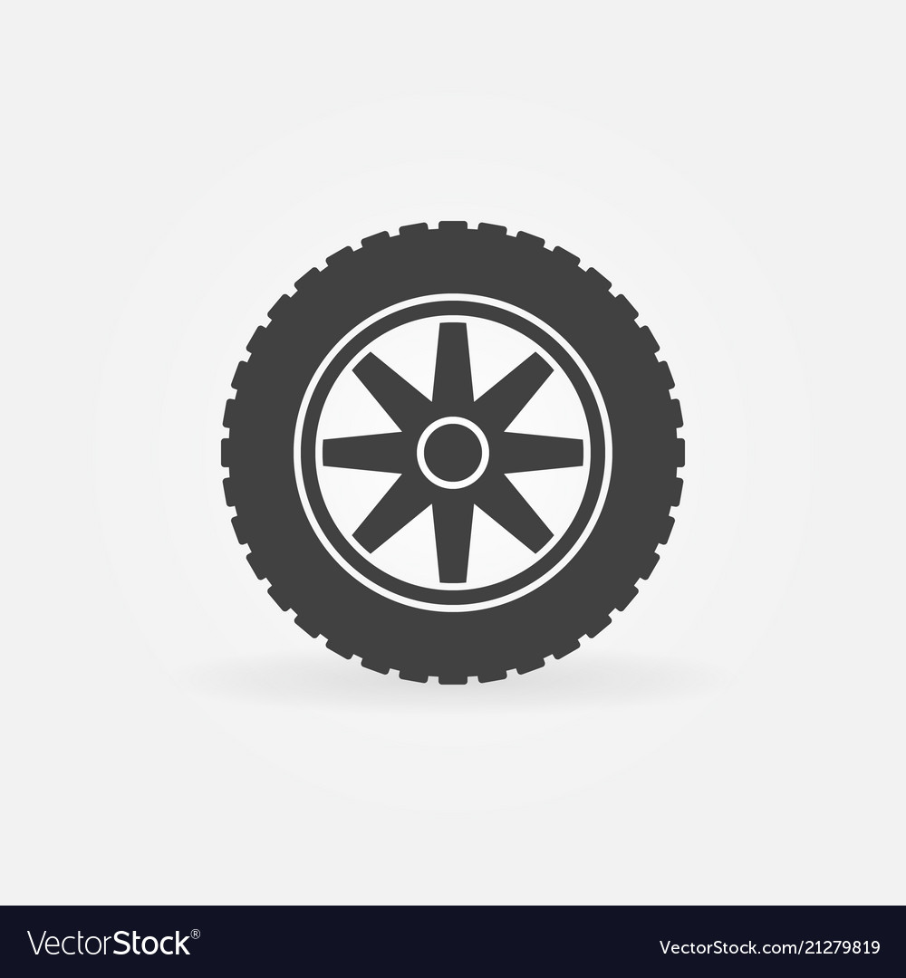 Car wheel with tire simple icon