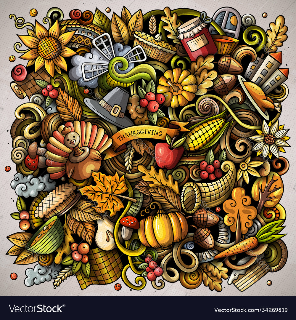 Cartoon doodles happy thanksgiving day