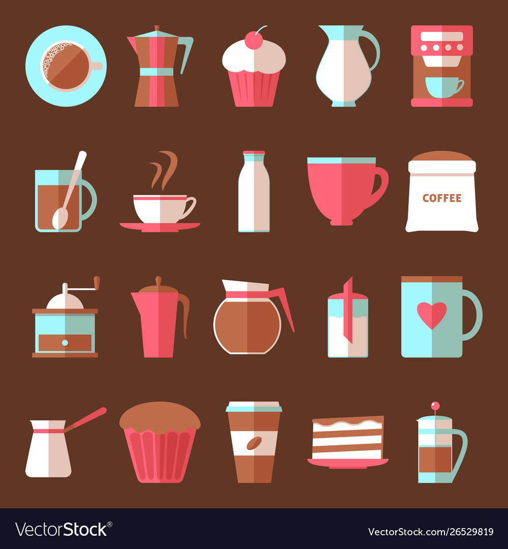 Coffee and dessert icons set in flat style