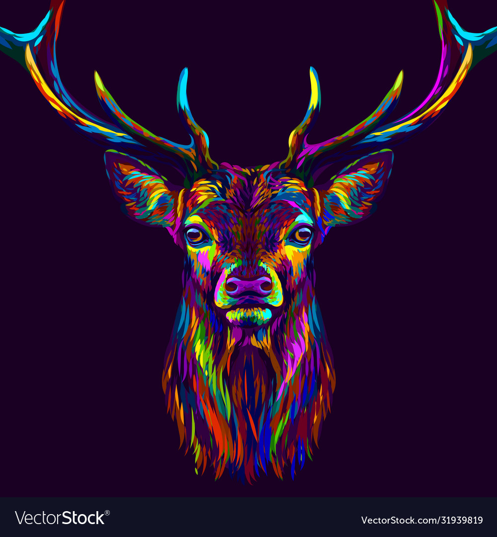Deer abstract neon multi-colored portrait