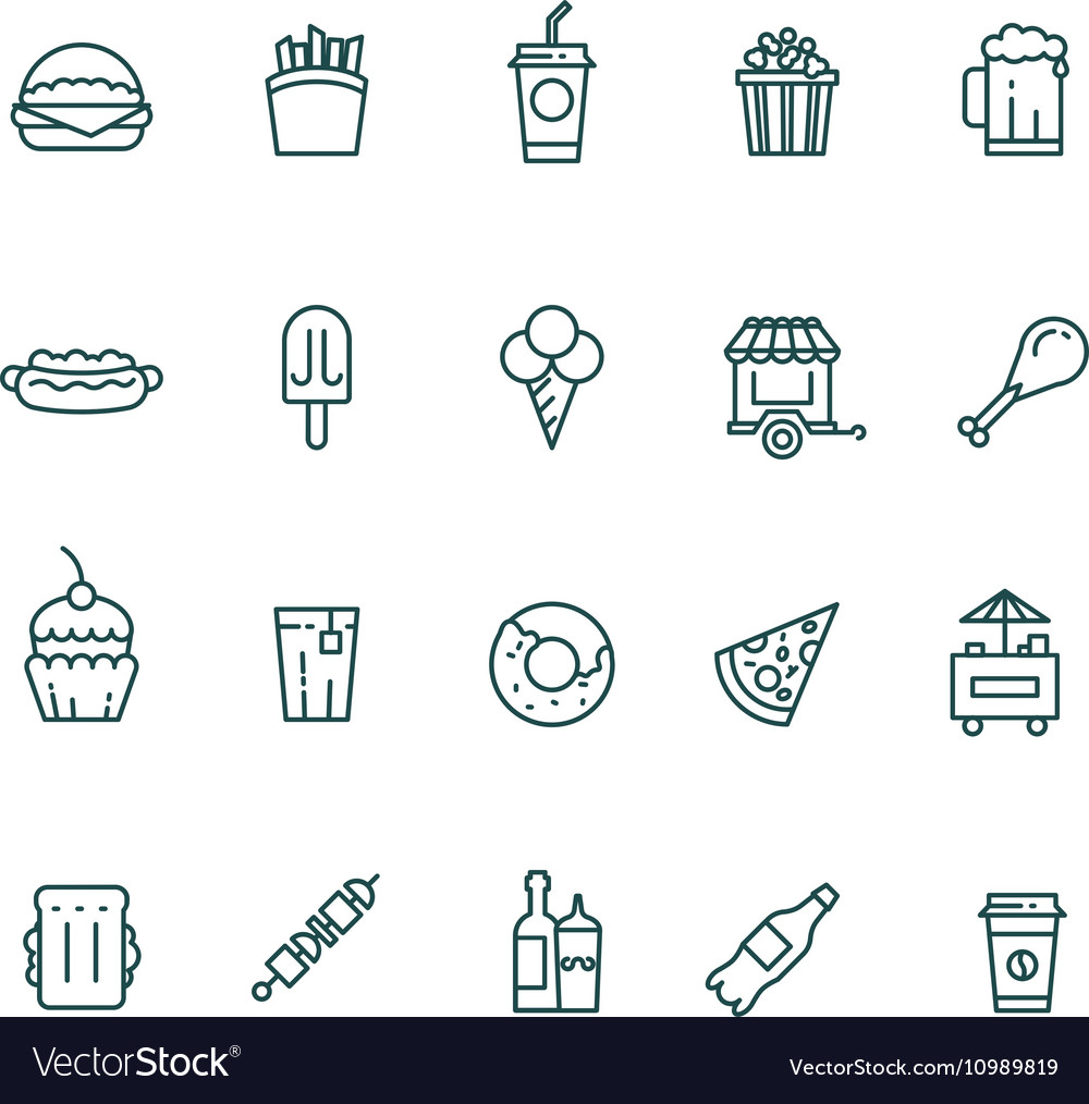 Fast food and snack thin line icons set