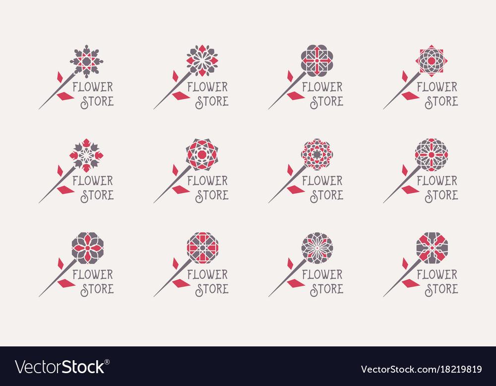 Flower store emblems set