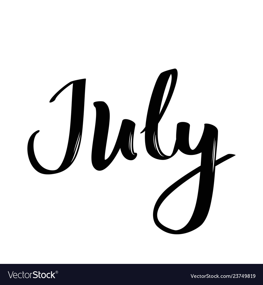 July month name handwritten calligraphic word