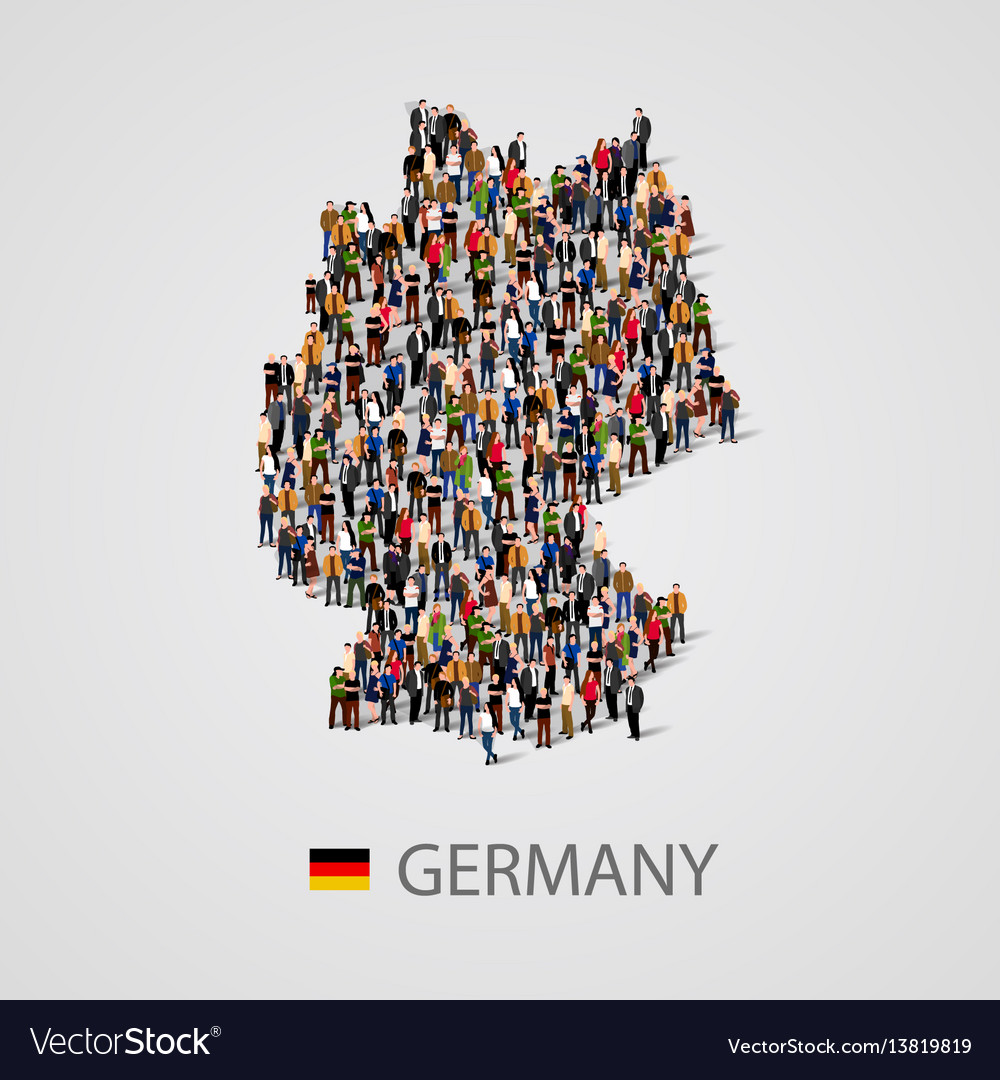 Large group of people in germany map form
