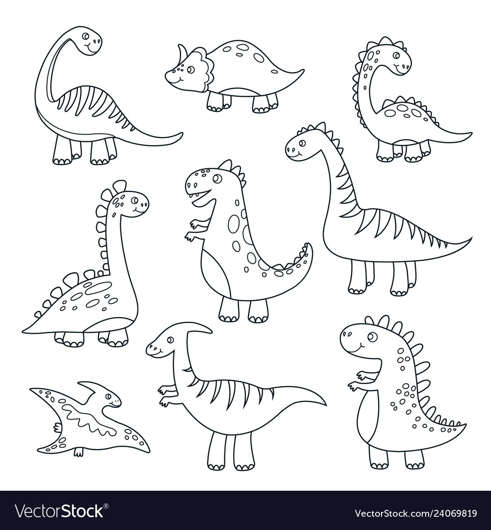 Outline Dinosaurs Cute Baby Dino Funny Monsters Vector Image