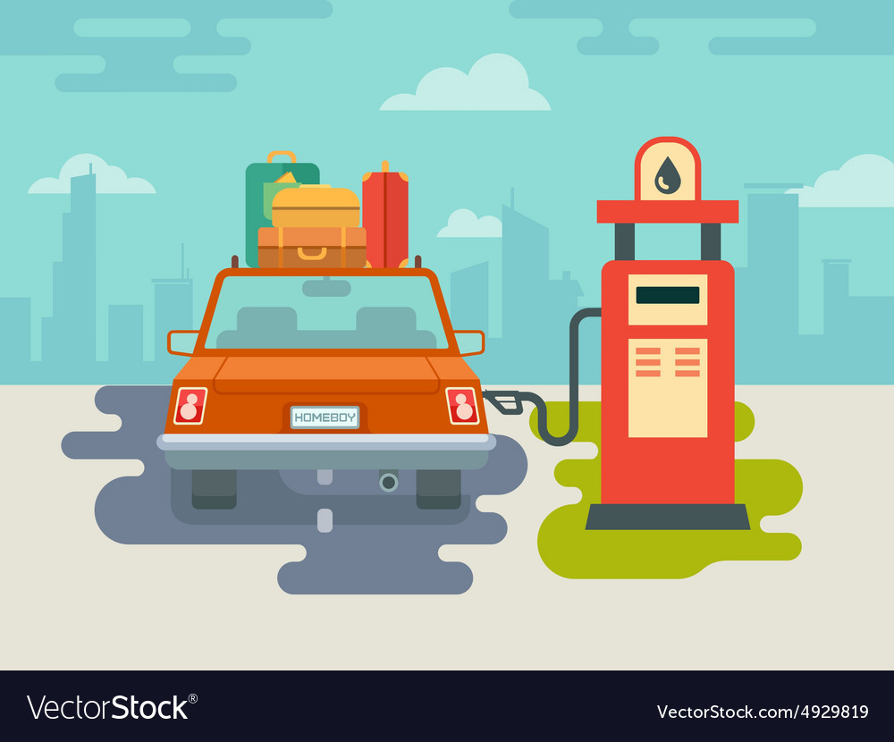 Refuel Car At Gas Station Vector Image
