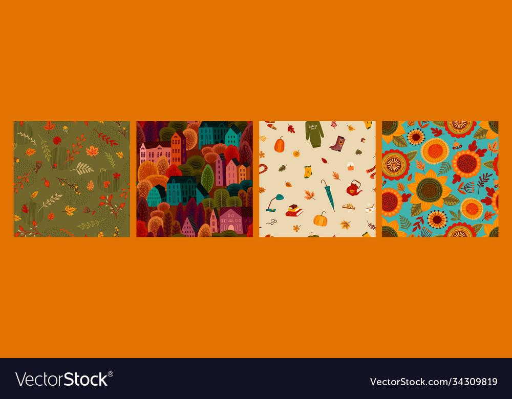 Set autumn seamless patterns design for