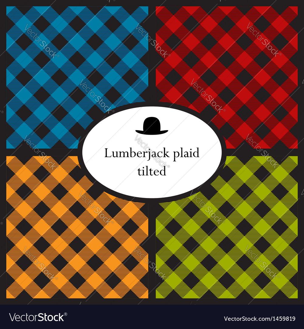 Set of tilted lumberjack plaid patterns