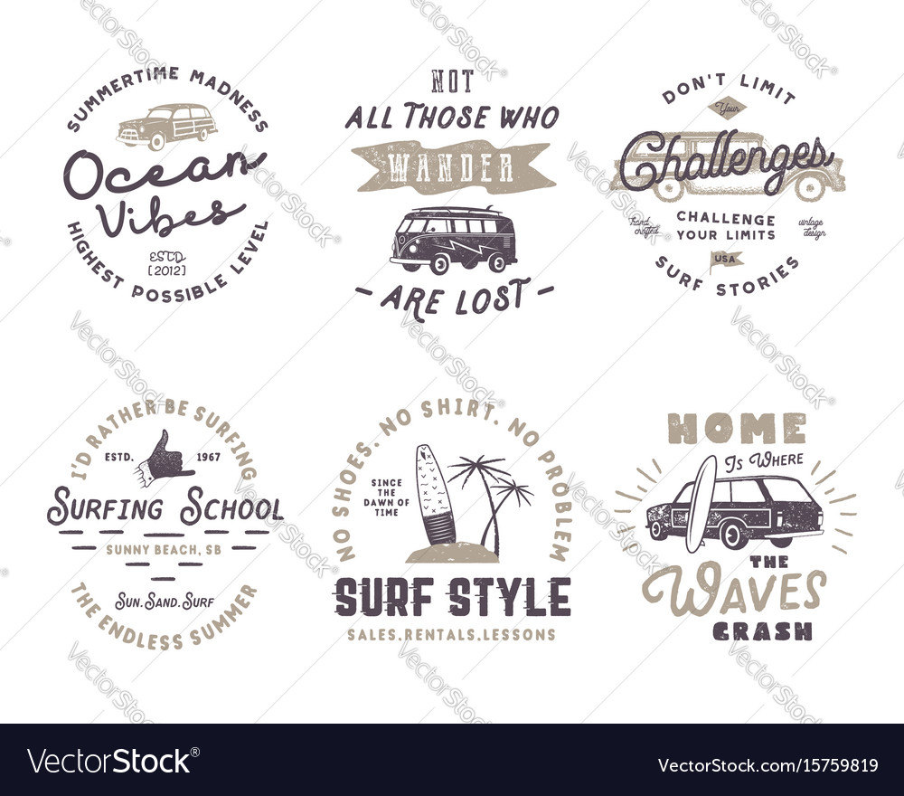764712ad93d Set of vintage surfing graphics and emblems for Vector Image