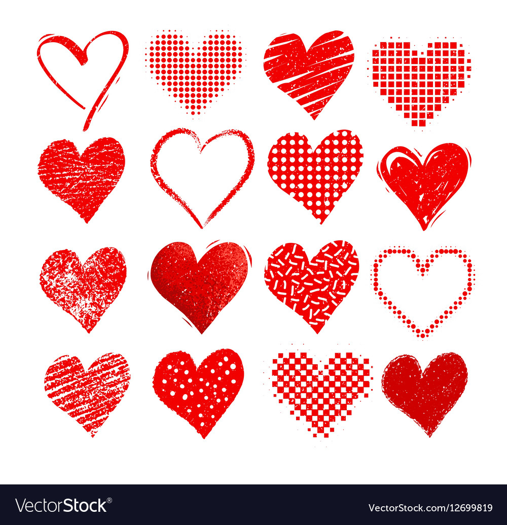 Valentine hearts isolated on white vector image