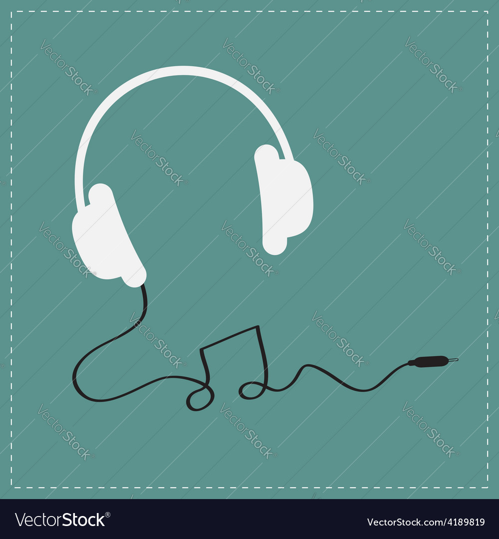 White headphones icon with black cord note shape