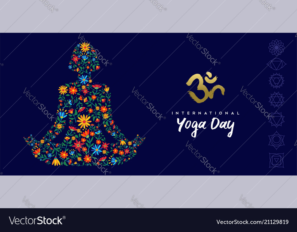 Yoga day web banner of woman in lotus pose