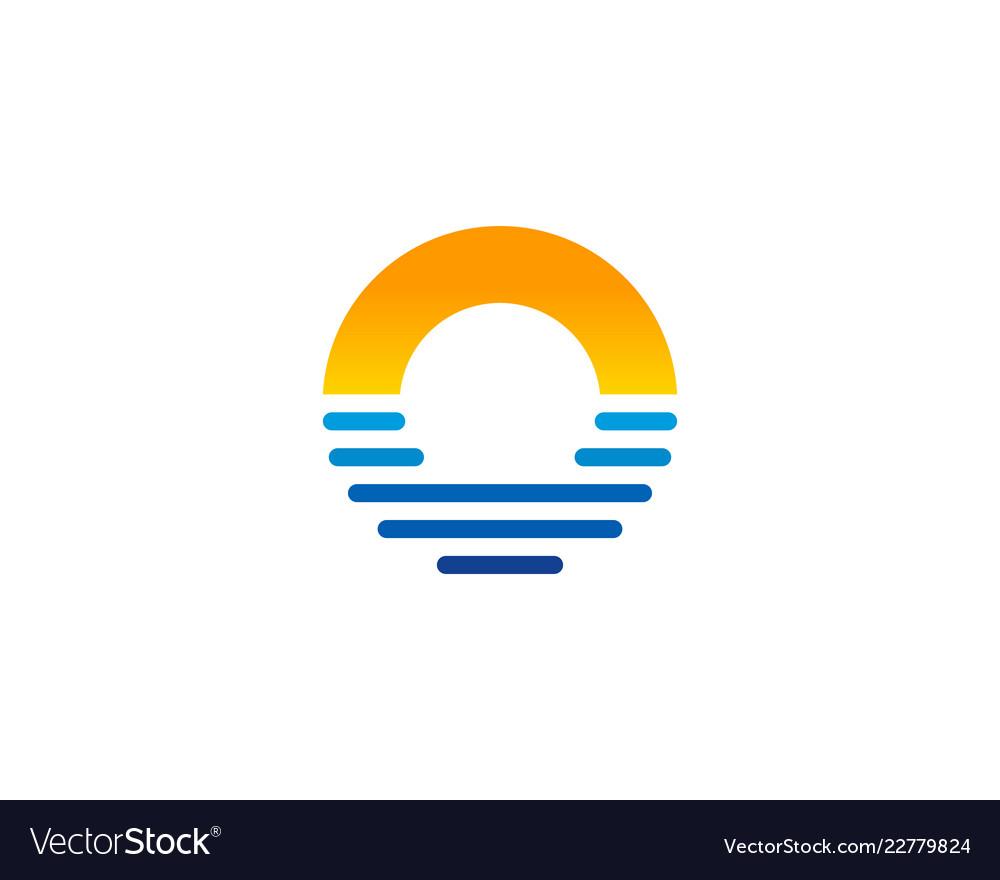 Beach letter o logo icon design