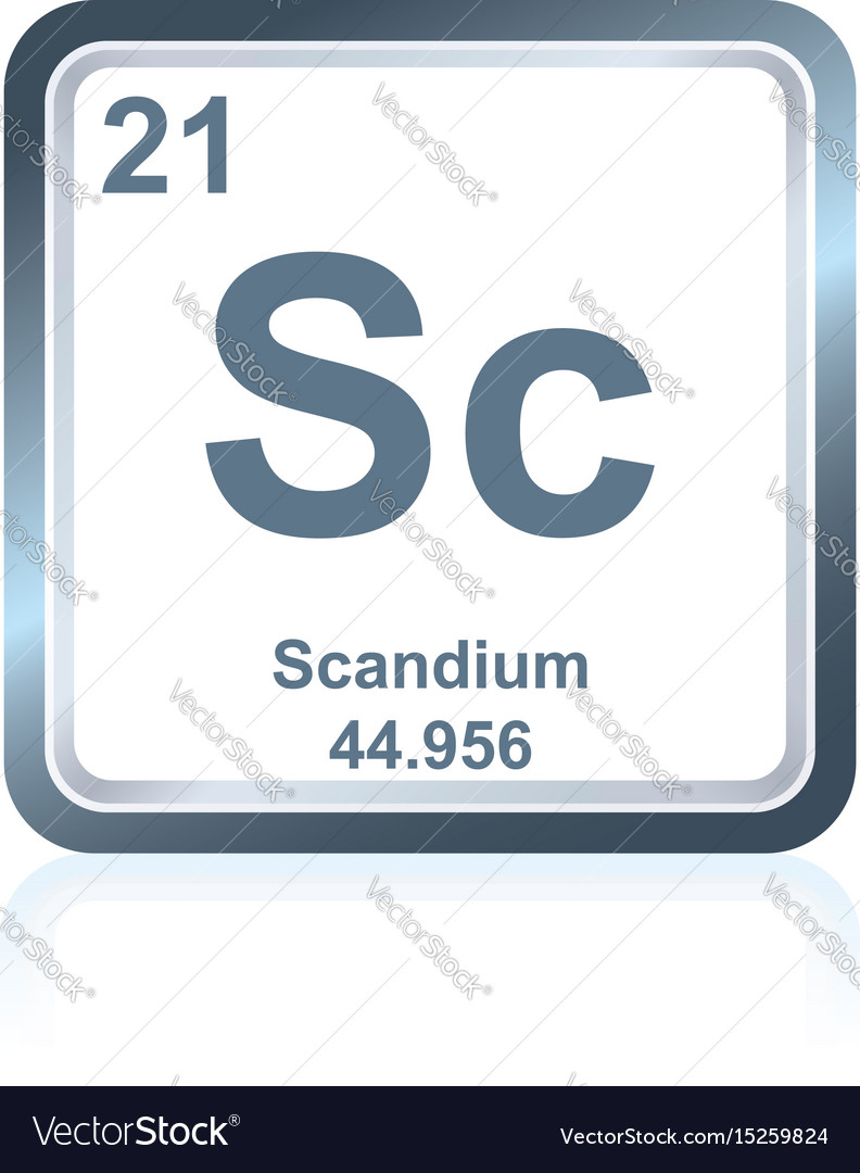 Chemical element scandium from the periodic table vector image
