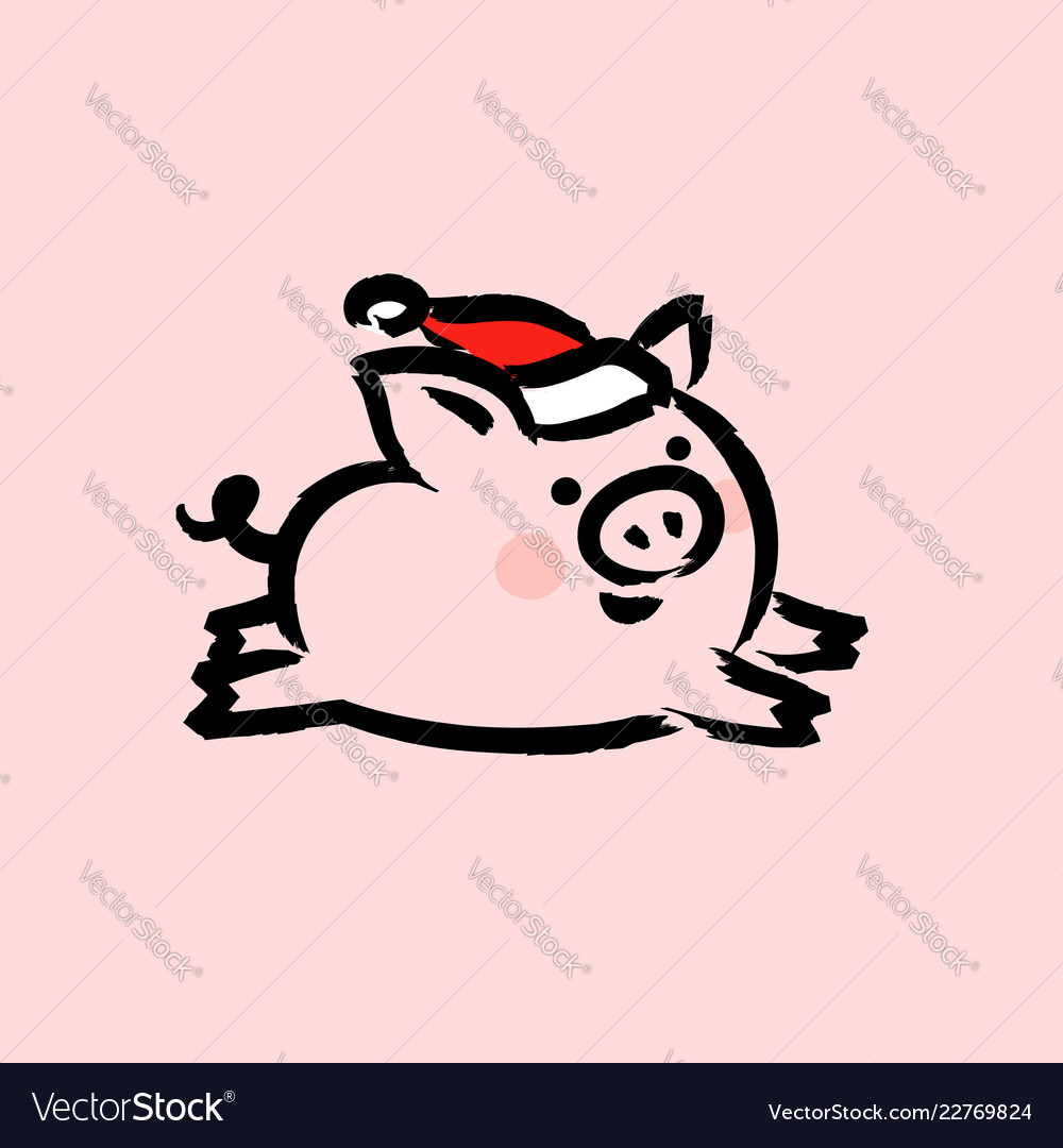 Chinese 2019 new year greeting card with cute pig