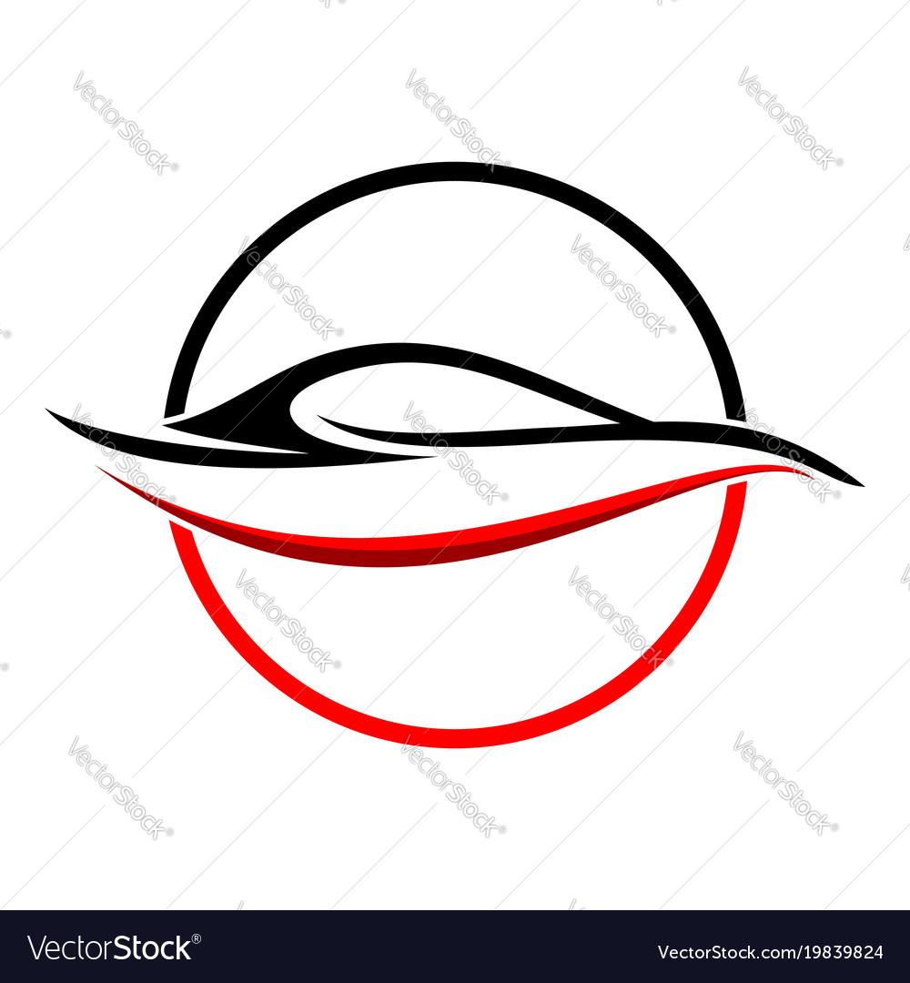 Circular Abstract Red Car Shape Symbol Royalty Free Vector