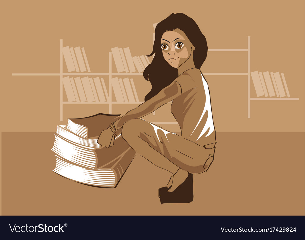 Cute girl sitting in front of books in a library v