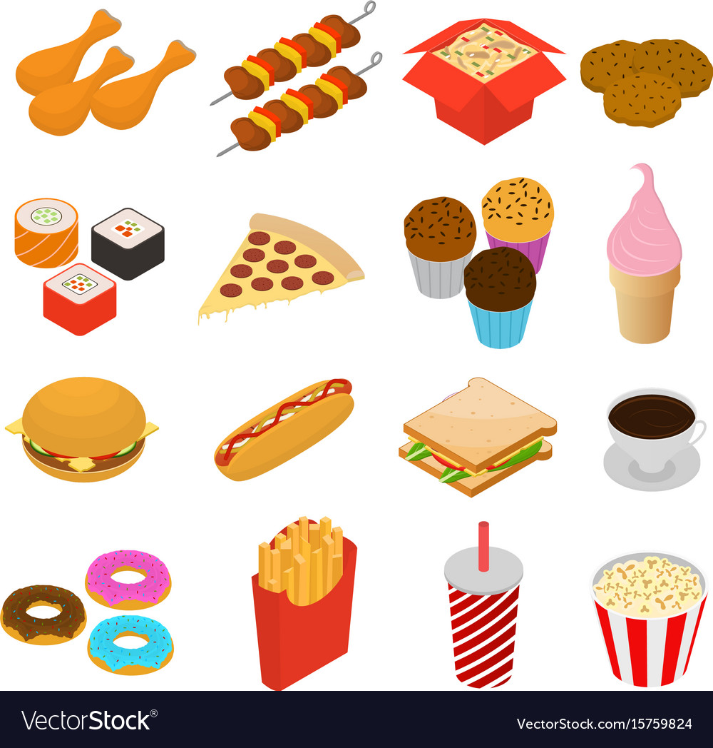 Fast food color icon set isometric view