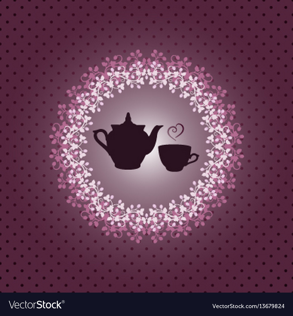 Invitation card with teapot and cup vector image