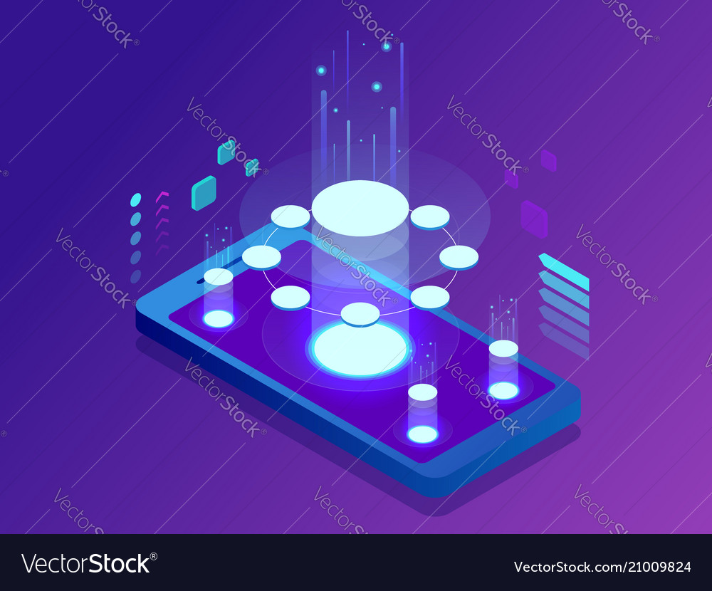 Isometric mobile applications concept developing