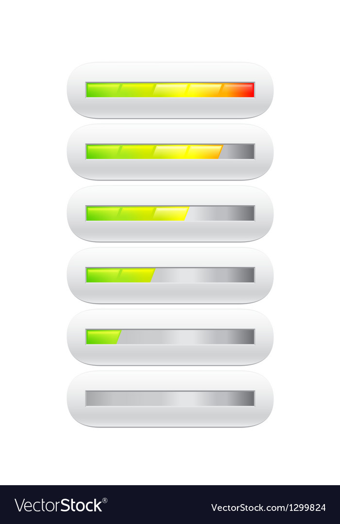 Loading bar from green to red with segments vector image