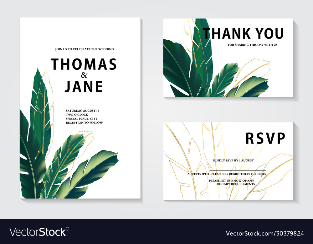 Luxury floral wedding invitation cards with gold