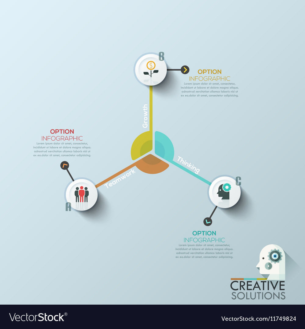 Modern business circle origami style options vector image