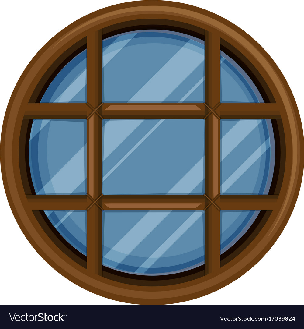 Round window with glass vector image