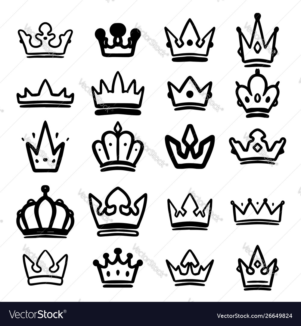 Set hand drawn crowns isolated on white