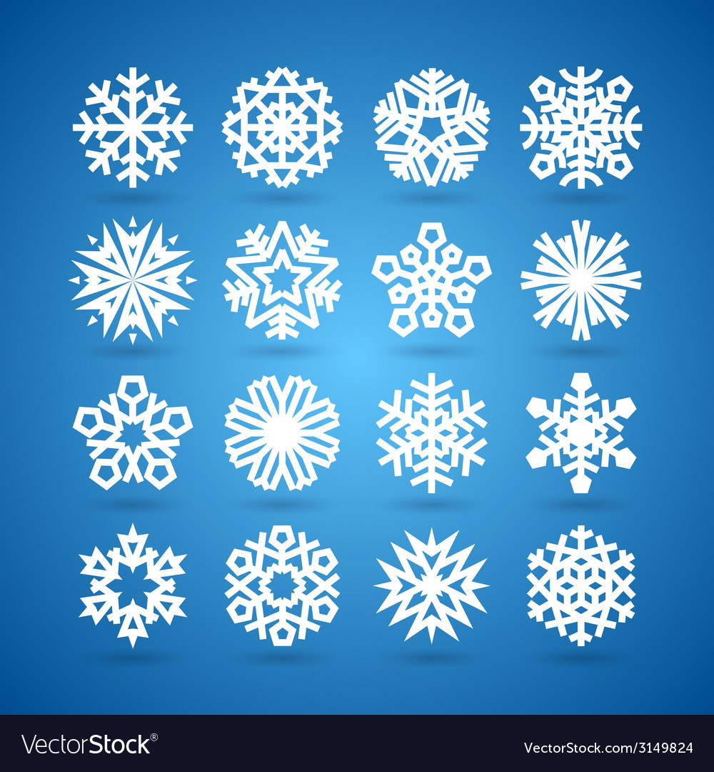 Simple Flat Snowflakes Set for Winter and