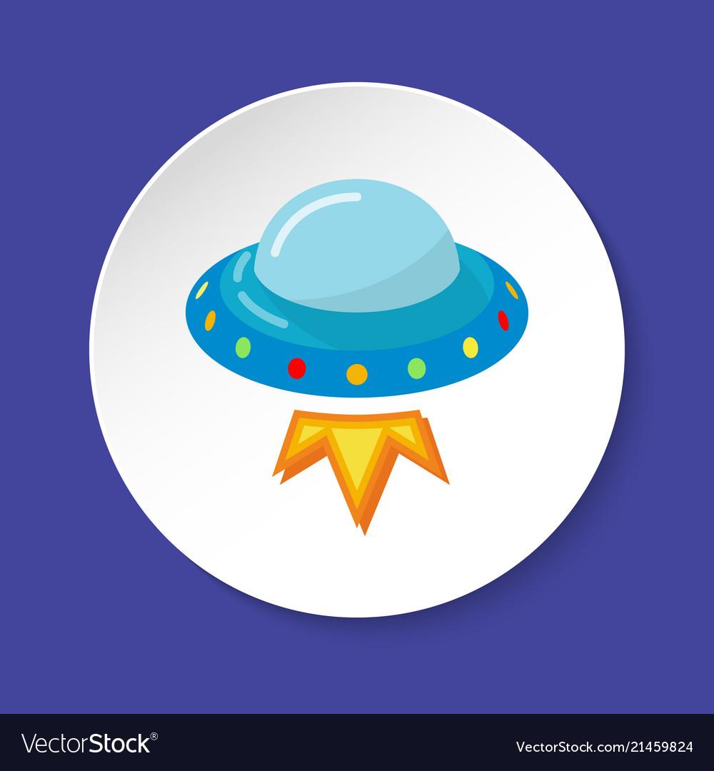 Ufo spaceship icon in flat style on round button