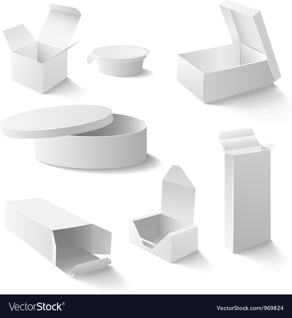 White boxes set vector image