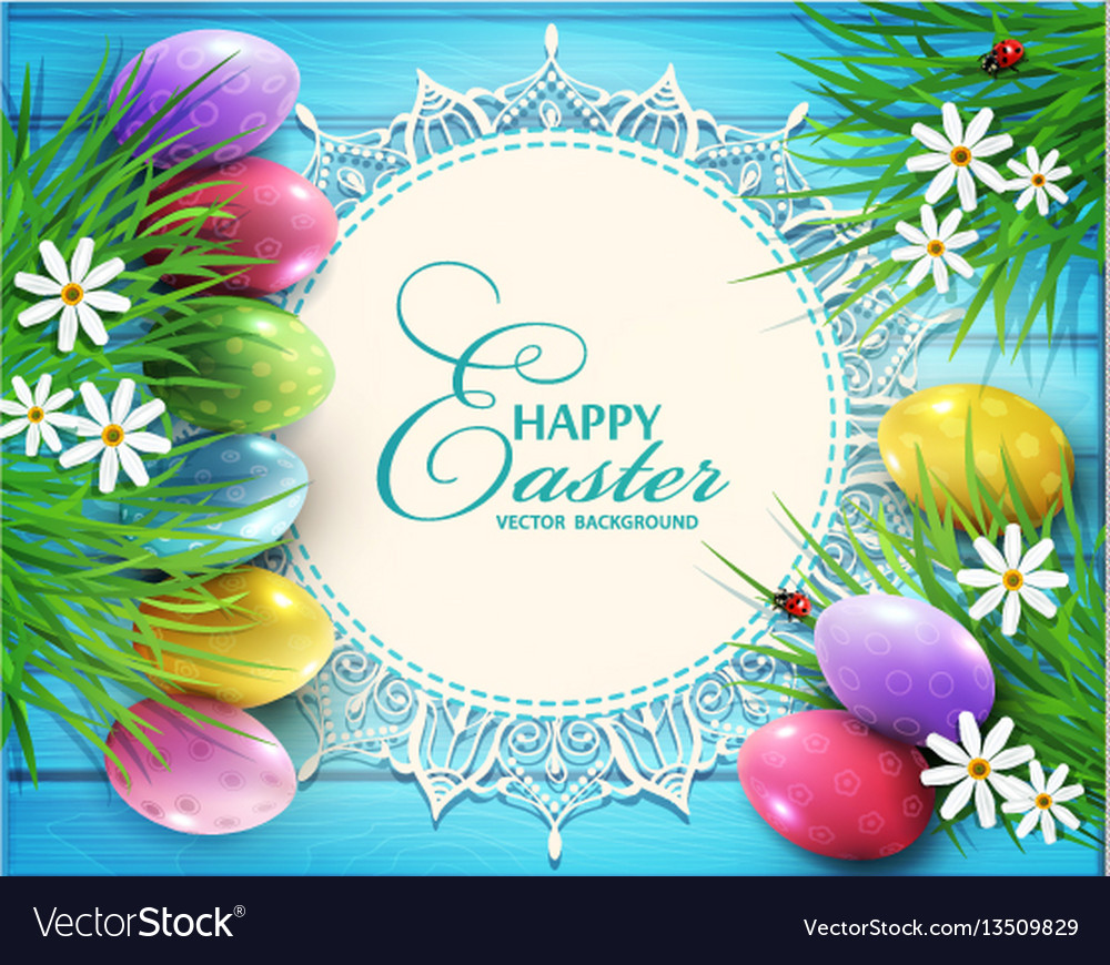 Background for easter colored eggs flowers